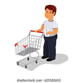 Vector man with wish shop list and empty shopping cart