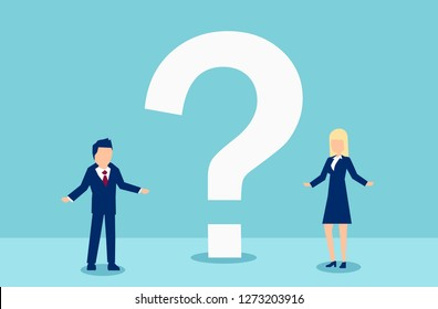 Vector of a man and woman having troubled communication and questions to each other