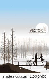 vector man and woman hold hand on the wood bridge on snow and pine tree background
