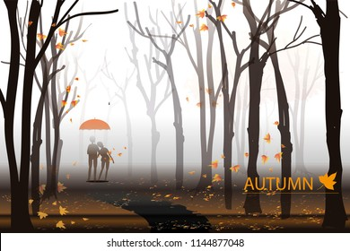 vector man and woman hold red umbrella on autumn background