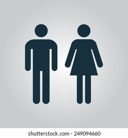 Vector man and woman icons, toilet sign, restroom, minimal style, pictogram. Illustration EPS10. Simple Flat icon