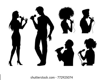vector man and woman portrait and full lenght silhouettes singing with microphone set. Isolated illustration on white background. Karaoke club design logo elements