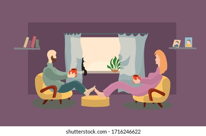 vector man and woman are sitting in chairs with coffee mugs in hands on the background of window with a cat. warm morning together at home