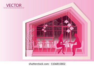 vector man and woman sitting on chair in a coffeeshop.restaurant interior decoration.copyspace