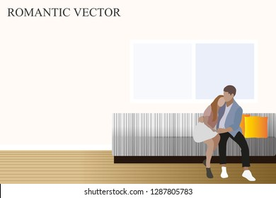 vector man and woman sitting on the couch.couple in love.boy and girl.