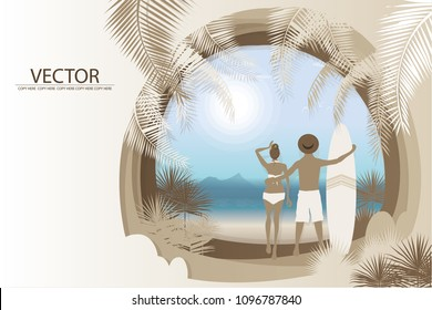 vector man and woman stand on the beach background.honeymoon trip.wedding card.
