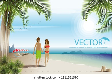 vector man and woman walking on the beach