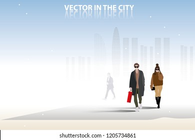 vector man and woman walking on the city street