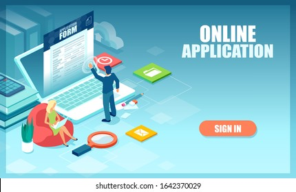 Vector of a man and woman working on computers and filling out online applications.