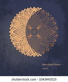 Vector mandala as the beautiful moonlihgt flower