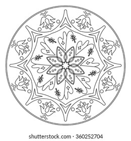 Vector mandala in black and white. Decorative element.