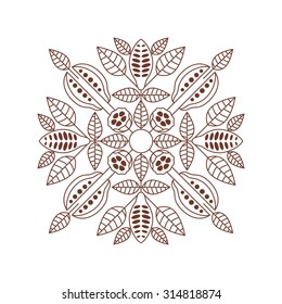 Vector mandala of the cocoa bean. Lace ornament. Round pattern of the cocoa bean.