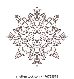 Vector mandala of the coffee beans. Lace ornament. Round pattern of the coffee beans.