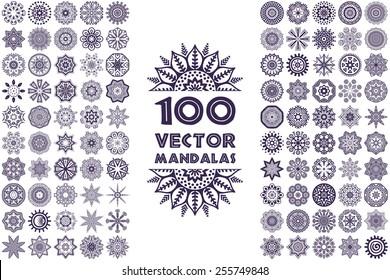 Vector mandala collection. Vintage decorative elements. Hand drawn background. Islam, Arabic, Indian, ottoman motifs.