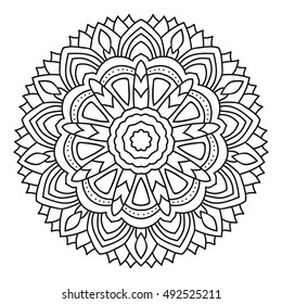 Vector mandala for coloring book isolated on white background