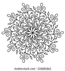 Vector mandala. Decor for your design, lace ornament, round pattern with lots of details. Oriental style, floral black pattern, isolated on white background. Circle lace ornament. Monochrome mandala