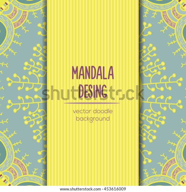 Vector mandala decor for your design with abstract ornament. Vector vintage nature business card. Oriental design Layout. Islam, Arabic, Indian, ottoman motifs. Ornamental doodle background.