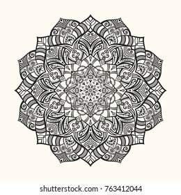 Vector mandala. Decorative round ornament. Unusual flower shape. Anti-stress therapy pattern. Sketch of tattoo. For Yoga print design, meditation poster, apparel. Oriental pattern. Zentangle style.