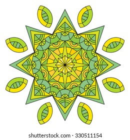 Vector mandala filled with green and yellow colors.