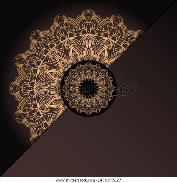 Vector Mandala Floral Background Greeting Invitation Stock