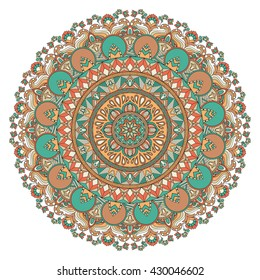 Vector mandala with flowers, leaves, waves, geometric elements. Ethnic pattern. Arabic, indian, asian, african motif. Decor for your design, round pattern with many details. Mandala art, boho chic.