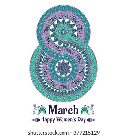 Vector mandala in the form of number for international women's day. 8 march background in the boho style. Round pattern with birds, elephants, flowers, leaves, etc. African, indian, arabic motif