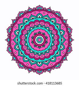 Vector mandala. Hand drawn tribal mandala with doodle ornament. Ethnic Indian mascot. Flower design amulet. Pink, white and green colors. Isolated.
