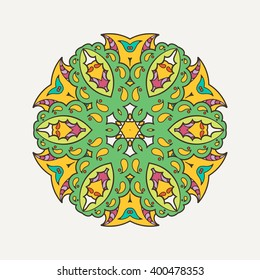Vector mandala. Mehndi lace tattoo. Oriental weave with sharp corners. The circular pattern.