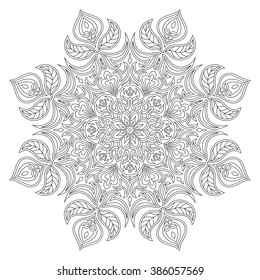 Vector Mandala. Oriental decorative element. Islam, Arabic, Indian, turkish, pakistan, chinese, ottoman motifs. Ethnic design elements. Hand drawn mandala. Monochrome contour mandala for coloring.