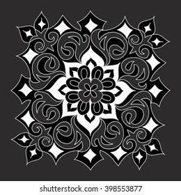 Vector mandala ornament, pattern. Hand drawn decorative element.