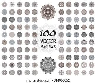 Vector mandala ornaments set. Round floral patterns collection. Hand drawn decorative element.