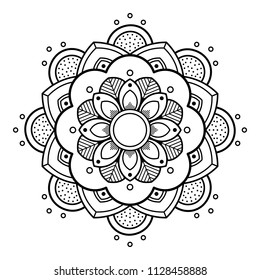 Vector Mandala Pattern, Henna Tattoo Style. Islam, Arabic, Pakistan, Moroccan, Turkish, Indian, Spain motifs.