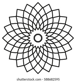 Vector mandala. Symmetric circular tribal ethnic ornament on a white background.