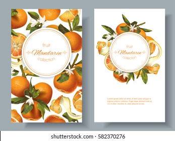 Vector mandarin vertical banners on white background. Design for sweets and pastries filled with fruit, dessert menu, natural cosmetics, health care products. With place for text