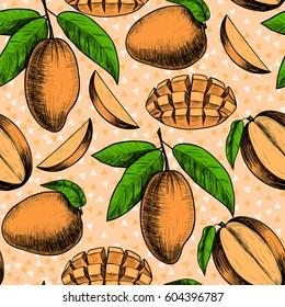 Vector mango  hand drawn sketch.  Vector seamless pattern.  Vintage style