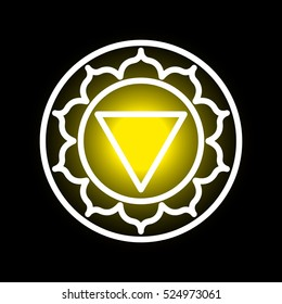 Vector Manipura chakra icon. Color yoga chakra symbol on black. Great for design, associated with yoga and India. Energetic point from Buddhism and Hinduism