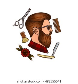 Vector man's face in profile in hipster style. Men's haircut. Accessories for men haircut. Men's hair salon. Hipster, comb, razor, scissors, flower.Logo for the men's barber shop