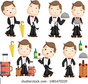 A Female Butler Holding An Empty Tray – Clipart Cartoons By VectorToons