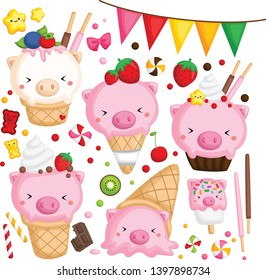 a vector of many ice cream with cute pig on top\n