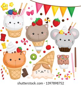 a vector of many ice cream with cute cat on top