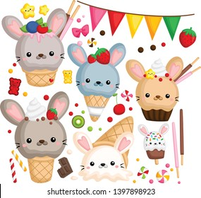 a vector of many ice cream with cute rabbit on top