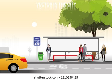 vector many people waiting a bus on bus stop background