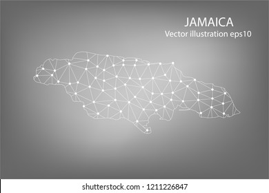 Vector map - Abstract mash,polygonal line and scales on dark background with map of JAMAICA. Wire frame 3D mesh polygonal network line,Vector illustration eps 10.