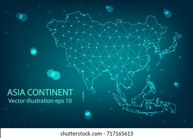 Vector map - Abstract mash,polygonal line and scales on dark background with map of Asia continent. Wire frame 3D mesh polygonal network line,Vector illustration eps 10.