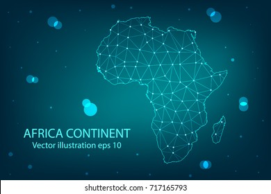 Vector map - Abstract mash,polygonal line and scales on dark background with map of Africa continent. Wire frame 3D mesh polygonal network line,Vector illustration eps 10.
