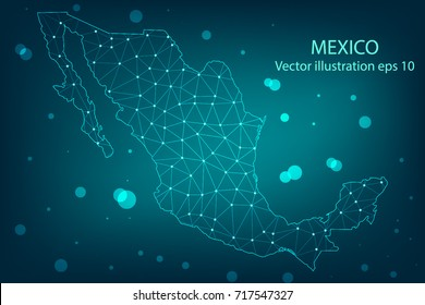 Vector map - Abstract mash,polygonal line and scales on dark background with map of Mexico. Wire frame 3D mesh polygonal network line,Vector illustration eps 10.