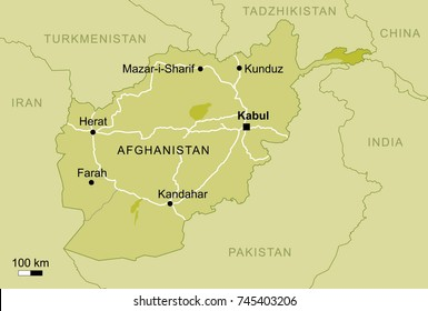 vector map of Afghanistan with important cities and roads country Kabul geography cartography