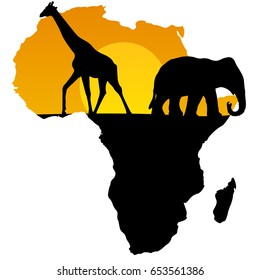 vector map of Africa black and yellow animal giraffe and elephant