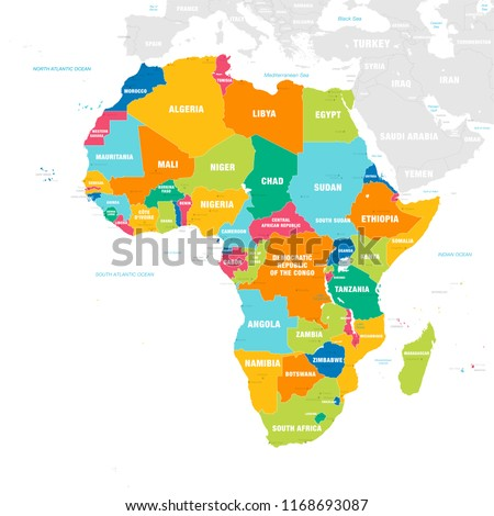 Map Of Africa And Surrounding Countries.Vector Map Africa Continent Countries Capitals Stock Vector Royalty