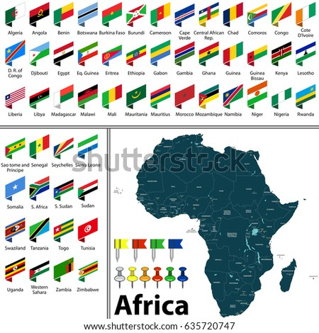 Vector Map Africa Countries Big Cities Stock Vector (Royalty Free ...